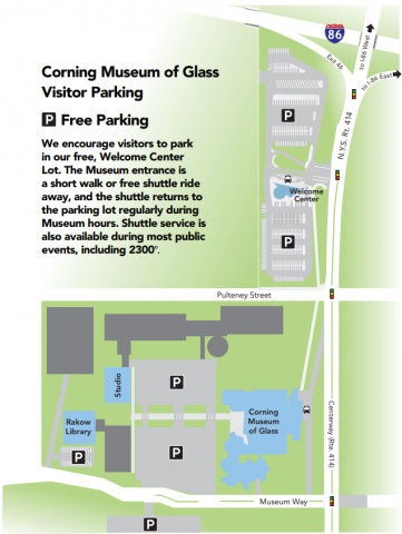 Screen shot of a map showing where to park at the Museum