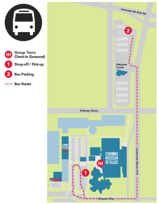 Screen shot of map showing where buses and motor coaches should park at the Museum