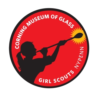 Round red patch design with a silhouette of a girl with a ponytail blowing glass