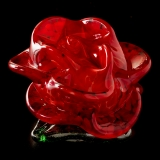 Red glass rose paperweight