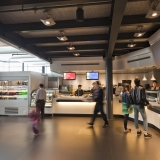 People ordering food in the Museum cafe
