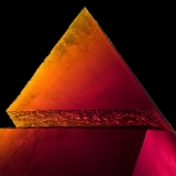 Red glass pyramid