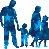Graphic outline of a family with blue stars