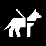 Service animal icon on a black background