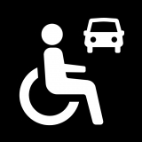 Icon showing a person in a wheelchair and a car on a black background