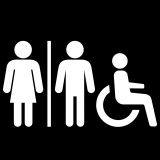 All gender and accessibility restroom logo on black background
