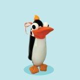 A black and white penguin wearing an orange mask on a teal background