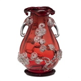 Transparent ruby glass vase with clear glass flowers and handles